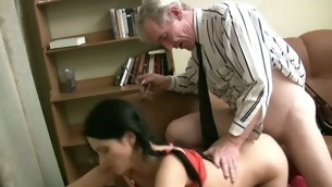Horny older teacher copulates naughty chick senseless