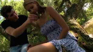 Hugecocked show the way seduces raunchy sweetheart to have sex in a forest