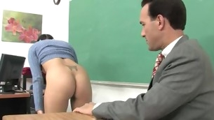 Shapely schoolgirl meeting her first big mature cock