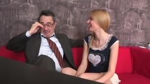 Old teacher is ravishing sweet sweetheart's chaste vagina