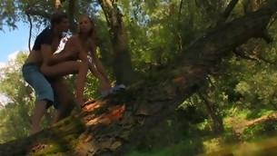 Wide forest vasts are used for a legal age teenager sex with a filthy blond