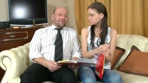 Horny old teacher gives juvenile playgirl a running drilling