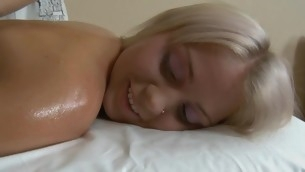 Beauty receives her breasts mashed and muff drilled by horny stud