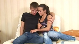 Angelic legal stage teenager gets a wild cookie loving action from stud