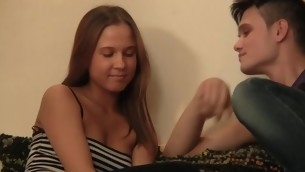 Sexy legal age teenager angel keeps moaning on being fucked doggystyle
